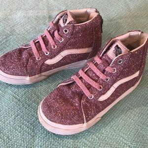 Vans high top sparkly pink sneakers